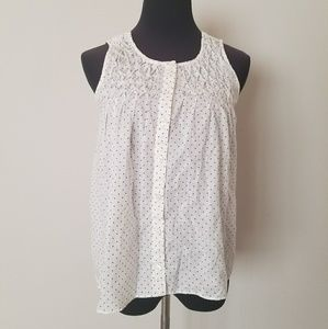 White J. Crew Tank with Blue Polka Dots